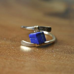 Shop Lapis Lazuli Rings! Raw Lapis Lazuli Ring in Sterling Silver, 14k Gold Fill // December Birthstone // Wire Wrapped Gemstone Ring // Healing Crystal // Boho Ring | Natural genuine Lapis Lazuli rings, simple unique handcrafted gemstone rings. #rings #jewelry #shopping #gift #handmade #fashion #style #affiliate #ad
