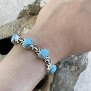 Shop Larimar Bracelets! Blue Swirl Larimar Dominican Republic Bracelet // Larimar Sterling Silver Bracelet // Larimar | Natural genuine Larimar bracelets. Buy crystal jewelry, handmade handcrafted artisan jewelry for women.  Unique handmade gift ideas. #jewelry #beadedbracelets #beadedjewelry #gift #shopping #handmadejewelry #fashion #style #product #bracelets #affiliate #ad
