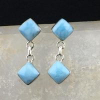 2 Squares: Larimar And Sterling Silver Dangle Earrings (e-9) | Natural genuine Gemstone jewelry. Buy crystal jewelry, handmade handcrafted artisan jewelry for women.  Unique handmade gift ideas. #jewelry #beadedjewelry #beadedjewelry #gift #shopping #handmadejewelry #fashion #style #product #jewelry #affiliate #ad