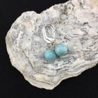 Spherical! Larimar And Sterling Silver Drop Earrings (10-2) | Natural genuine Gemstone jewelry. Buy crystal jewelry, handmade handcrafted artisan jewelry for women.  Unique handmade gift ideas. #jewelry #beadedjewelry #beadedjewelry #gift #shopping #handmadejewelry #fashion #style #product #jewelry #affiliate #ad