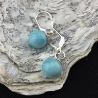 Spherical! Larimar And Sterling Silver Drop Earrings (10-3) | Natural genuine Gemstone jewelry. Buy crystal jewelry, handmade handcrafted artisan jewelry for women.  Unique handmade gift ideas. #jewelry #beadedjewelry #beadedjewelry #gift #shopping #handmadejewelry #fashion #style #product #jewelry #affiliate #ad