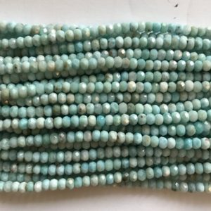 Shop Larimar Faceted Beads! natural genuine larimar 4x3mm faceted roundelle Beads-15.5 inch strand | Natural genuine faceted Larimar beads for beading and jewelry making.  #jewelry #beads #beadedjewelry #diyjewelry #jewelrymaking #beadstore #beading #affiliate #ad