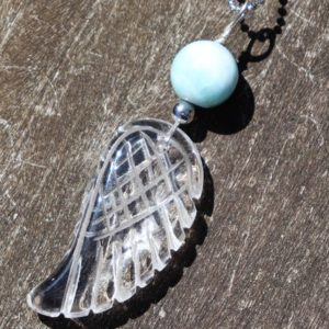 Shop Larimar Necklaces! Clear Quartz Carved Angel Wing with Larimar Healing Stone Necklace! | Natural genuine Larimar necklaces. Buy crystal jewelry, handmade handcrafted artisan jewelry for women.  Unique handmade gift ideas. #jewelry #beadednecklaces #beadedjewelry #gift #shopping #handmadejewelry #fashion #style #product #necklaces #affiliate #ad