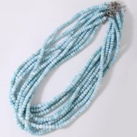Larimar Smooth Plain Rondelle From Dominican Republic Beads Necklace Soft Soothing Blue Necklace For Great Relationship Bond… | Natural genuine Gemstone jewelry. Buy crystal jewelry, handmade handcrafted artisan jewelry for women.  Unique handmade gift ideas. #jewelry #beadedjewelry #beadedjewelry #gift #shopping #handmadejewelry #fashion #style #product #jewelry #affiliate #ad