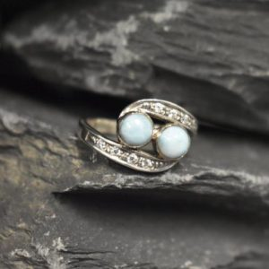 Shop Larimar Rings! Larimar Ring, Natural Larimar, March Birthstone, Two Stone Ring, Unique Stone Ring, Jewel Of Atlantis, Blue Stone Ring, Solid Silver Ring | Natural genuine Larimar rings, simple unique handcrafted gemstone rings. #rings #jewelry #shopping #gift #handmade #fashion #style #affiliate #ad