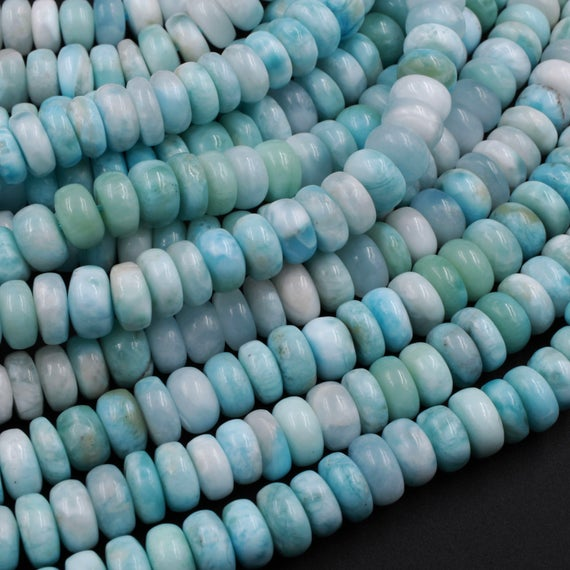"Natural Blue Larimar Beads Smooth 6mm 7mm 8mm 9mm 10mm Rondelle High Quality Real Genuine Larimar Gemstone 15.5"" Strand"