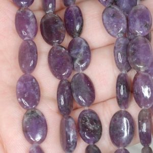 Shop Lepidolite Beads! 12X8mm Purple Lepidolite Gemstone Grade A Oval Loose Beads 15.5 inch Full Strand (90188432-658) | Natural genuine other-shape Lepidolite beads for beading and jewelry making.  #jewelry #beads #beadedjewelry #diyjewelry #jewelrymaking #beadstore #beading #affiliate #ad