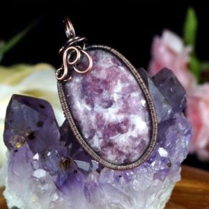 Shop Lepidolite Pendants! Copper pendant with Lepidolite gift for her, him patinated copper jewelry Healing crystals, wire wrapped with leather strap 55 cm, handmade | Natural genuine Lepidolite pendants. Buy crystal jewelry, handmade handcrafted artisan jewelry for women.  Unique handmade gift ideas. #jewelry #beadedpendants #beadedjewelry #gift #shopping #handmadejewelry #fashion #style #product #pendants #affiliate #ad
