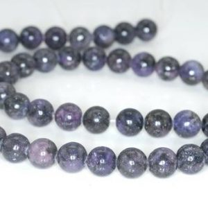 Shop Lepidolite Beads! 6mm Lepidolite Gemstone Black Purple Grade AB Round Beads 16 inch Full Strand (90188377-650) | Natural genuine round Lepidolite beads for beading and jewelry making.  #jewelry #beads #beadedjewelry #diyjewelry #jewelrymaking #beadstore #beading #affiliate #ad