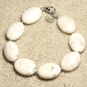 Shop Magnesite Bracelets! Bracelet 925 sterling silver and stone – Magnesite oval 18mm | Natural genuine Magnesite bracelets. Buy crystal jewelry, handmade handcrafted artisan jewelry for women.  Unique handmade gift ideas. #jewelry #beadedbracelets #beadedjewelry #gift #shopping #handmadejewelry #fashion #style #product #bracelets #affiliate #ad