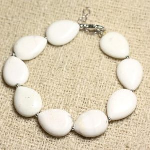 Shop Magnesite Bracelets! Bracelet 925 sterling silver and stone – Magnesite drops 18mm | Natural genuine Magnesite bracelets. Buy crystal jewelry, handmade handcrafted artisan jewelry for women.  Unique handmade gift ideas. #jewelry #beadedbracelets #beadedjewelry #gift #shopping #handmadejewelry #fashion #style #product #bracelets #affiliate #ad