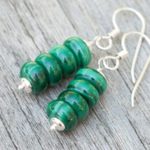 Shop Malachite Earrings! Malachite Earrings, Green Natural Stone Earrings, 925 Sterling Silver, Heart Chakra, Healing Energies, Taurus Zodiac Earrings, Gift For Her | Natural genuine Malachite earrings. Buy crystal jewelry, handmade handcrafted artisan jewelry for women.  Unique handmade gift ideas. #jewelry #beadedearrings #beadedjewelry #gift #shopping #handmadejewelry #fashion #style #product #earrings #affiliate #ad