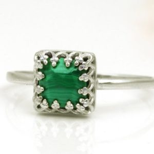 Shop Malachite Rings! Silver ring,Malachite ring,semiprecious ring,gemstone ring,green stone ring,bridesmaid rings,bridal ring,wedding ring | Natural genuine Malachite rings, simple unique alternative gemstone engagement rings. #rings #jewelry #bridal #wedding #jewelryaccessories #engagementrings #weddingideas #affiliate #ad