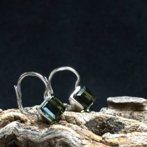 Shop Moldavite Earrings! Hip Square Cubed!: Uniquely Square 7 x7 Moldavite and Sterling Silver Rhodium Plated Drop Earrings | Natural genuine Moldavite earrings. Buy crystal jewelry, handmade handcrafted artisan jewelry for women.  Unique handmade gift ideas. #jewelry #beadedearrings #beadedjewelry #gift #shopping #handmadejewelry #fashion #style #product #earrings #affiliate #ad