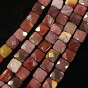 Shop Mookaite Jasper Faceted Beads! Mookaite 12x12x 5mm Faceted Square Gemstone Bead – 15.5 inch strand /1 strand/3 strands | Natural genuine faceted Mookaite Jasper beads for beading and jewelry making.  #jewelry #beads #beadedjewelry #diyjewelry #jewelrymaking #beadstore #beading #affiliate #ad