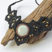 Moonstone Macrame Ethnic Necklace, Micro Macrame Collar, Moonstone Macrame Necklace, Gypsy Brass Macrame Necklace, Moonstone Goddess Collar | Natural genuine Gemstone jewelry. Buy crystal jewelry, handmade handcrafted artisan jewelry for women.  Unique handmade gift ideas. #jewelry #beadedjewelry #beadedjewelry #gift #shopping #handmadejewelry #fashion #style #product #jewelry #affiliate #ad