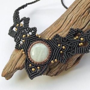 Shop Moonstone Necklaces! Moonstone macrame ethnic necklace, Micro Macrame collar, Moonstone macrame necklace, Gypsy brass macrame necklace, moonstone goddess collar | Natural genuine Moonstone necklaces. Buy crystal jewelry, handmade handcrafted artisan jewelry for women.  Unique handmade gift ideas. #jewelry #beadednecklaces #beadedjewelry #gift #shopping #handmadejewelry #fashion #style #product #necklaces #affiliate #ad