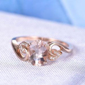 1.2ct Morganite Engagement Ring 6x8mm Oval Cut Morganite Ring 14k Rose gold Diamond Wedding Band Leaf design Personalized for her Custom | Natural genuine Gemstone rings, simple unique alternative gemstone engagement rings. #rings #jewelry #bridal #wedding #jewelryaccessories #engagementrings #weddingideas #affiliate #ad