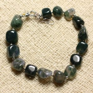 Shop Moss Agate Bracelets! Bracelet 925 sterling silver and stone – 8mm Nuggets Moss Agate | Natural genuine Moss Agate bracelets. Buy crystal jewelry, handmade handcrafted artisan jewelry for women.  Unique handmade gift ideas. #jewelry #beadedbracelets #beadedjewelry #gift #shopping #handmadejewelry #fashion #style #product #bracelets #affiliate #ad