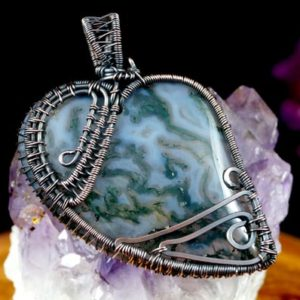 Shop Moss Agate Pendants! Pendant with Moss Agate gift for her gift for mom, patinated copper wire jewellery for women, gift for sister, with 55 cm leather strap | Natural genuine Moss Agate pendants. Buy crystal jewelry, handmade handcrafted artisan jewelry for women.  Unique handmade gift ideas. #jewelry #beadedpendants #beadedjewelry #gift #shopping #handmadejewelry #fashion #style #product #pendants #affiliate #ad