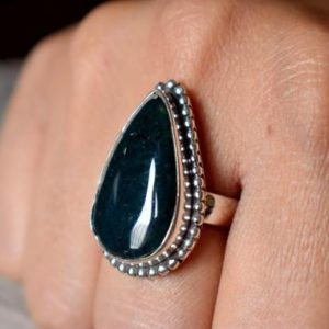 Shop Moss Agate Rings! US SIZE 6.5 – Moss Agate ring , moss agate ring , 925 sterling silver , statement silver ring , women jewellery gift #B158   Natural genuine Moss Agate rings, simple unique handcrafted gemstone rings. #rings #jewelry #shopping #gift #handmade #fashion #style #affiliate #ad