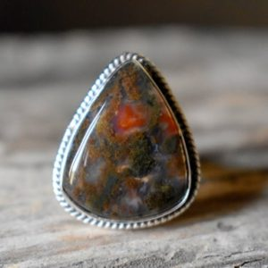 Shop Moss Agate Rings! US SIZE 7.75 – Moss Agate ring , moss agate ring , 925 sterling silver , agate gemstone silver ring , women jewellery gift #B78   Natural genuine Moss Agate rings, simple unique handcrafted gemstone rings. #rings #jewelry #shopping #gift #handmade #fashion #style #affiliate #ad