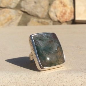 Shop Moss Agate Rings! Womens Silver Statement Ring, Green Moss Agate Silver Ring, Hammered Jewellery   Natural genuine Moss Agate rings, simple unique handcrafted gemstone rings. #rings #jewelry #shopping #gift #handmade #fashion #style #affiliate #ad