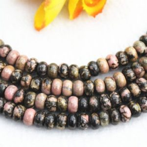 "Shop Rhodonite Rondelle Beads! Natura Black Rhodonite Rondelle beads 4x6mm 5x8mm Black Rhodonite beads wholesale,beads supply 15"" strand 