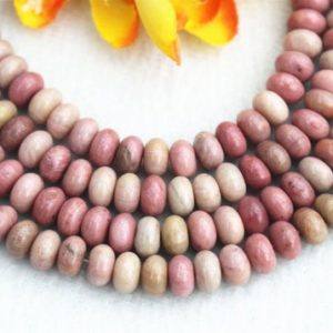 "Shop Rhodonite Rondelle Beads! Natura Pink Rhodonite Rondelle beads 4x6mm 5x8mm Pink Rhodonite beads wholesale,Pink Rhodonite beads supply 15"" strand 