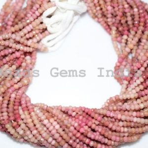 "Shop Rhodonite Rondelle Beads! Natural Rhodonite Rondelle Beads, Rhodonite Faceted Beads, 3.50 – 4 mm, 13"", 0BGI11 