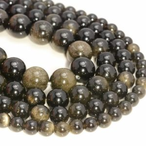 Shop Obsidian Beads! 10mm Chatoyant Golden Sheen Obsidian Gemstone Grade AA Round 10mm Loose Beads 7.5 inch Half Strand (90111878-135) | Natural genuine beads Obsidian beads for beading and jewelry making.  #jewelry #beads #beadedjewelry #diyjewelry #jewelrymaking #beadstore #beading #affiliate #ad