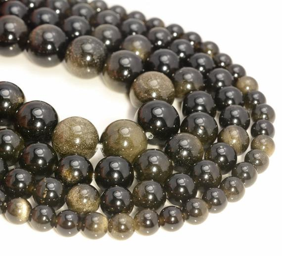 6mm Chatoyant Golden Sheen Obsidian Gemstone Grade Aa Round Loose Beads 15.5 Inch Full Strand (90182837-400)