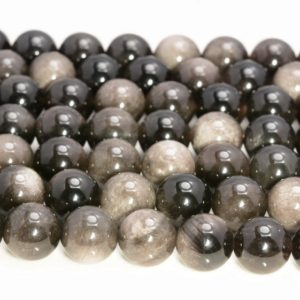 Shop Obsidian Beads! 6mm Genuine Silver Obsidian Gemstone  Grade AAA Round Beads 15 inch Full Strand (80007521-A264) | Natural genuine beads Obsidian beads for beading and jewelry making.  #jewelry #beads #beadedjewelry #diyjewelry #jewelrymaking #beadstore #beading #affiliate #ad