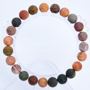 "Shop Ocean Jasper Bracelets! 8MM Matte Ocean Jasper Beads Bracelet Grade AAA Genuine Natural Round Gemstone 7"" BULK LOT 1,3,5,10 and 50 (106784h-068) 