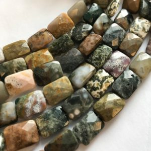 Shop Ocean Jasper Beads! Ocean Jasper 14x10x5mm 16x12x6mm Faceted Rectangle Natural Gemstone Bead–15.5 Inch Strand-1 Strand / 3 Strands | Natural genuine beads Ocean Jasper beads for beading and jewelry making.  #jewelry #beads #beadedjewelry #diyjewelry #jewelrymaking #beadstore #beading #affiliate #ad