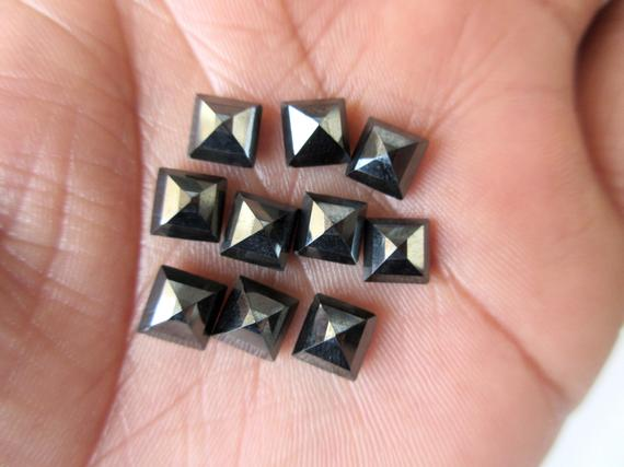 10 Pieces 6x6x4mm Each Black Onyx Faceted Princess Shaped Loose Gemstone For Jewelry Gds1047/9