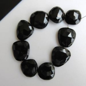 Shop Onyx Faceted Beads! 5 Pieces 15mm To 18mm Each Black Onyx Center Side Drilled Faceted Rose Cut Flat Back Loose Cabochons GDS869 | Natural genuine faceted Onyx beads for beading and jewelry making.  #jewelry #beads #beadedjewelry #diyjewelry #jewelrymaking #beadstore #beading #affiliate #ad
