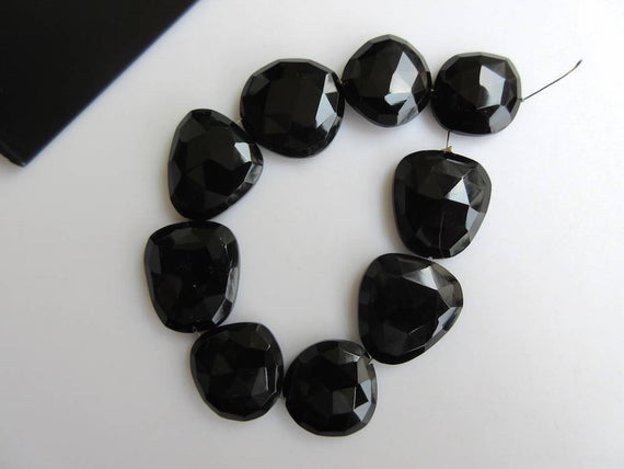 5 Pieces 15mm To 18mm Each Black Onyx Center Side Drilled Faceted Rose Cut Flat Back Loose Cabochons Gds869