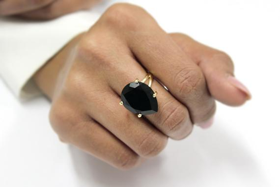 Black Onyx Ring · Gemstone Ring · Pear Ring · Drop Ring · Simple Stone Ring · Cocktail Ring · Gold Ring · 14k Gold Filled Ring