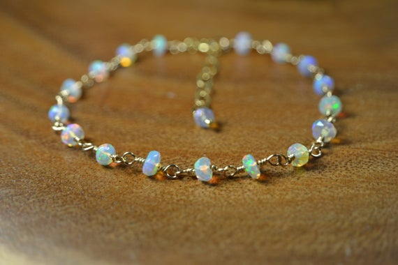 Ethiopian Welo Opal Bracelet In Sterling Silver, 14k Gold // Opal Rosary // October Birthstone // Faceted Welo Opal // 14th Anniversary