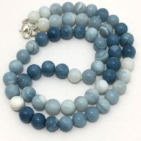 Natural Blue Opal Plain Round Beaded Necklace, 7.5mm To 8.5mm, 18 Inches, Blue Beads, Opal Beads, Gemstone Beads, Semiprecious Stone Beads | Natural genuine Gemstone jewelry. Buy crystal jewelry, handmade handcrafted artisan jewelry for women.  Unique handmade gift ideas. #jewelry #beadedjewelry #beadedjewelry #gift #shopping #handmadejewelry #fashion #style #product #jewelry #affiliate #ad