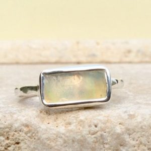 Shop Opal Rings! Raw Ethiopian Opal Silver Ring, Raw Natural Gemstone Boho Silver Ring, October Birthstone, Gift for Wife   Natural genuine Opal rings, simple unique handcrafted gemstone rings. #rings #jewelry #shopping #gift #handmade #fashion #style #affiliate #ad