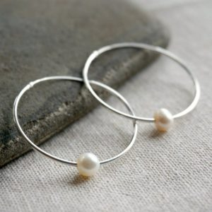 Silver hoop earrings, pearl hoops, large hoop earrings, silver earrings, pearl earrings, wedding earrings, sterling silver earrings | Natural genuine Gemstone earrings. Buy handcrafted artisan wedding jewelry.  Unique handmade bridal jewelry gift ideas. #jewelry #beadedearrings #gift #crystaljewelry #shopping #handmadejewelry #wedding #bridal #earrings #affiliate #ad