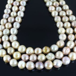 Shop Pearl Necklaces! AA 8-9mm High luster Near round Edison Freshwater Pearl beads ,Nucleated pearl necklace, loose pearl beads,Wedding pearl necklace-15inches | Natural genuine Pearl necklaces. Buy handcrafted artisan wedding jewelry.  Unique handmade bridal jewelry gift ideas. #jewelry #beadednecklaces #gift #crystaljewelry #shopping #handmadejewelry #wedding #bridal #necklaces #affiliate #ad