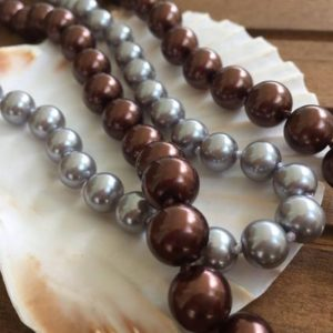 Shop Pearl Necklaces! Coffee Shell Pearl Necklace | Natural genuine Pearl necklaces. Buy crystal jewelry, handmade handcrafted artisan jewelry for women.  Unique handmade gift ideas. #jewelry #beadednecklaces #beadedjewelry #gift #shopping #handmadejewelry #fashion #style #product #necklaces #affiliate #ad