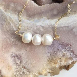 Shop Pearl Necklaces! Delicate Pearl Necklace – June Birthstone – Birthday Gift  – Freshwater Pearl Jewelry  –  – 14K Gold Filled or Sterling Silver | Natural genuine Pearl necklaces. Buy crystal jewelry, handmade handcrafted artisan jewelry for women.  Unique handmade gift ideas. #jewelry #beadednecklaces #beadedjewelry #gift #shopping #handmadejewelry #fashion #style #product #necklaces #affiliate #ad