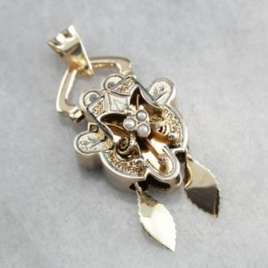 Shop Pearl Pendants! Victorian Seed Pearl Gold Pendant, Antique Black Enamel Pendant ML83JY-P   Natural genuine Pearl pendants. Buy crystal jewelry, handmade handcrafted artisan jewelry for women.  Unique handmade gift ideas. #jewelry #beadedpendants #beadedjewelry #gift #shopping #handmadejewelry #fashion #style #product #pendants #affiliate #ad