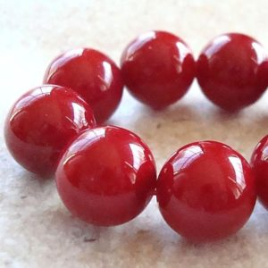Shell Pearl Beads 12mm Lustrous Crimson Red Shell Pearl Round Beads  – 8 Pieces | Natural genuine beads Gemstone beads for beading and jewelry making.  #jewelry #beads #beadedjewelry #diyjewelry #jewelrymaking #beadstore #beading #affiliate #ad