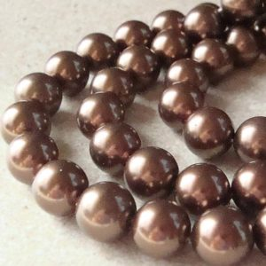 Shell Pearl Beads 8mm Lustrous Carmel Brown Smooth Round – 8 Pieces | Natural genuine beads Gemstone beads for beading and jewelry making.  #jewelry #beads #beadedjewelry #diyjewelry #jewelrymaking #beadstore #beading #affiliate #ad