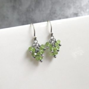 Shop Peridot Earrings! Delicate Sterling Silver Peridot Earrings, August Birthstone, Cluster Gemstone Earrings | Natural genuine Peridot earrings. Buy crystal jewelry, handmade handcrafted artisan jewelry for women.  Unique handmade gift ideas. #jewelry #beadedearrings #beadedjewelry #gift #shopping #handmadejewelry #fashion #style #product #earrings #affiliate #ad